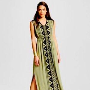 Olive Green & Black Aztec Bohemian Maxi Dress XXL